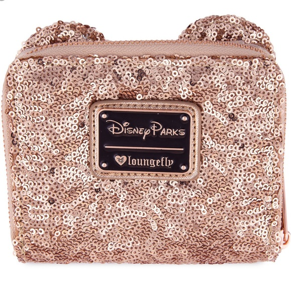 8fd61d1b974 RoseGold Minnie Mouse Sequined Wallet by Loungefly. NWT. Disney
